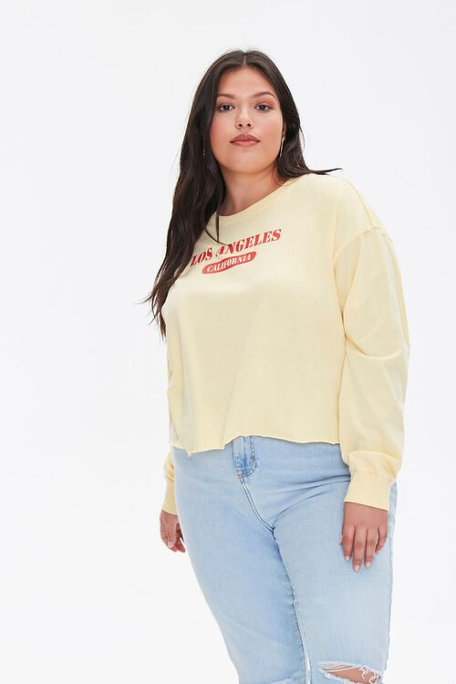 Plus Size Los Angeles Cropped Graphic Tee, image 1