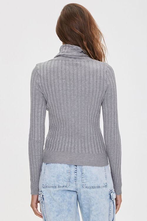 HEATHER GREY Ribbed Turtleneck Sweater, image 4