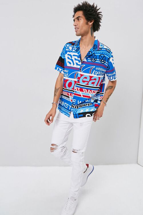 BLUE/MULTI Classic Fit Graphic Shirt, image 4