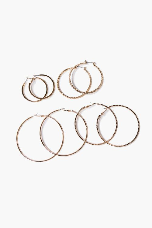 Textured Hoop Earring Set, image 2