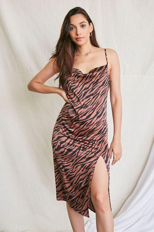 BROWN/MULTI Tiger Print Slip Dress, image 1