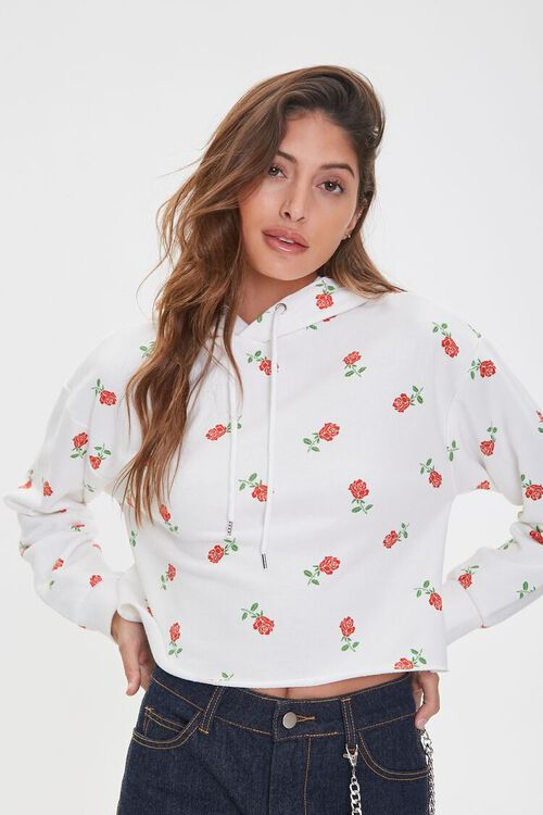 Rose Print Raw-Cut Hoodie, image 1