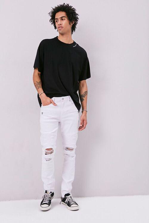 Distressed Moto Skinny Jeans, image 1