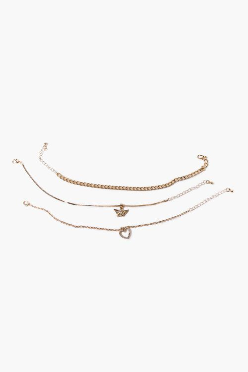 GOLD Butterfly Charm Anklet Set, image 2