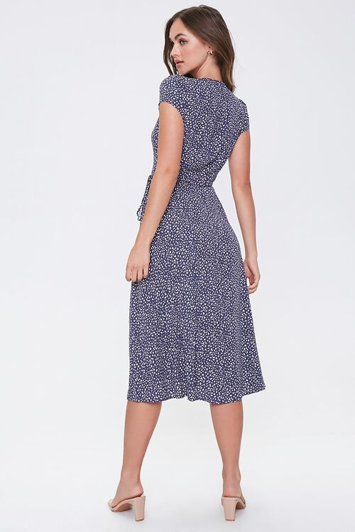 NAVY/CREAM Spotted Fit & Flare Wrap Dress, image 3
