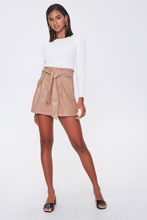 Faux Leather Paperbag Mini Skirt, image 4