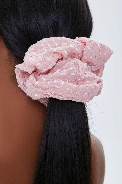 PINK Grid Print Hair Scrunchie, image 2