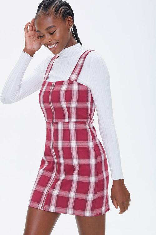 Plaid Zippered Overall Dress, image 1