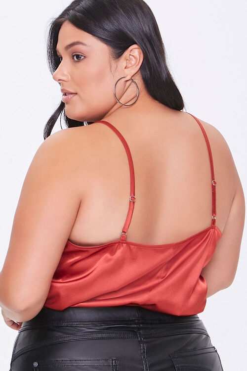 Plus Size Satin Lace-Trim Bodysuit, image 3