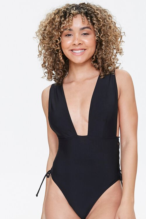 Plunging Lace-Up One-Piece Swimsuit, image 4