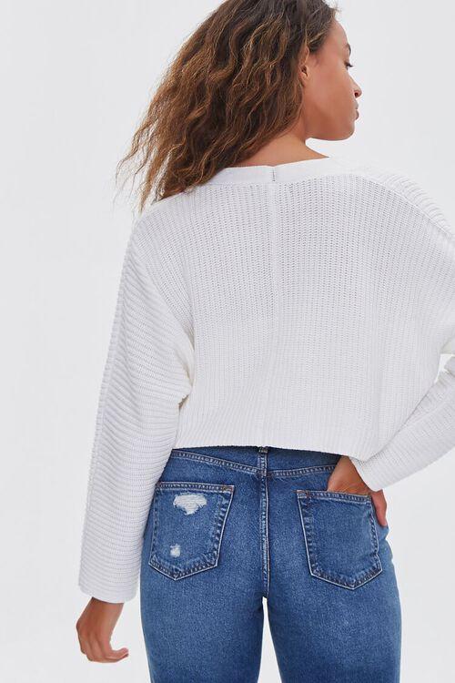 CREAM Ribbed Cropped Cardigan Sweater, image 3