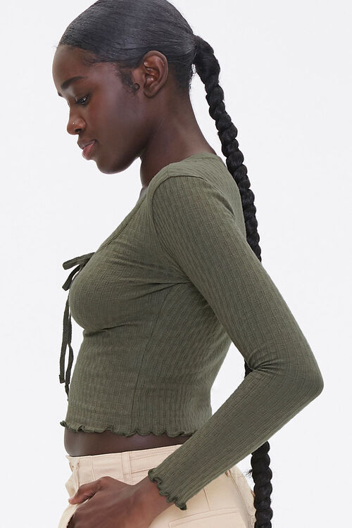 Lace-Up Pointelle Knit Top, image 2