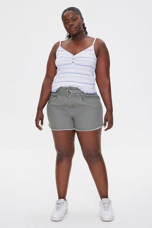 Plus Size Belted High-Rise Shorts, image 5