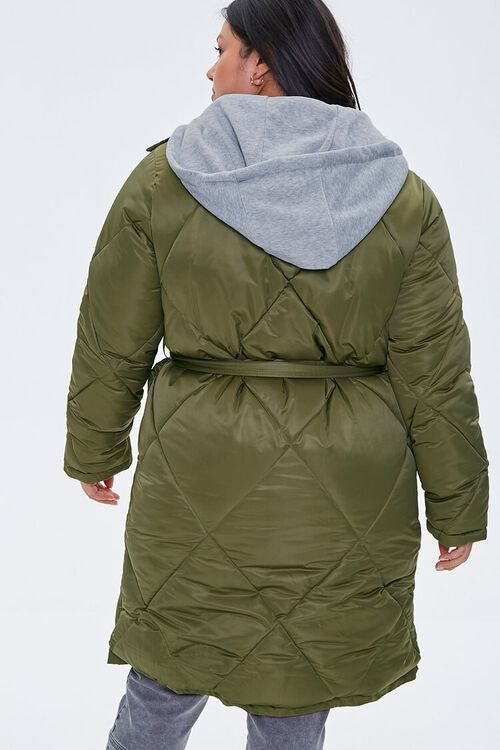 Plus Size Longline Quilted Puffer Jacket, image 3