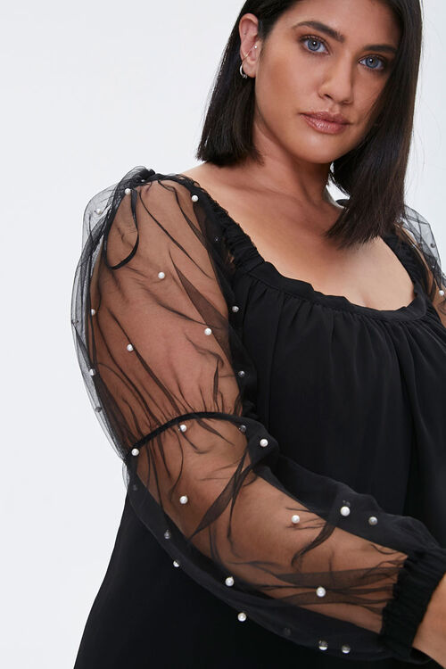 Plus Size Faux Pearl-Sleeve Mini Dress, image 5