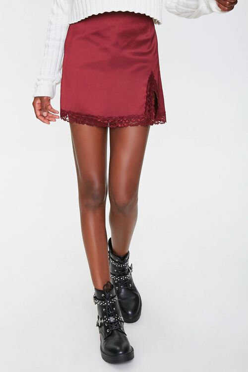 Satin Lace-Trim Mini Skirt, image 2