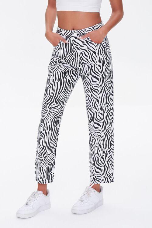 BLACK/WHITE Zebra Print Straight Jeans, image 2