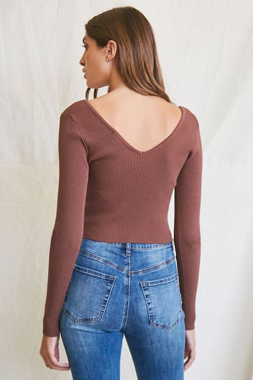 BROWN Ribbed Cropped Sweater, image 3