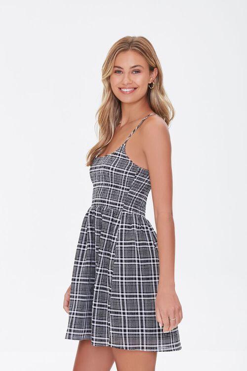 BLACK/CREAM Plaid Mini Cami Dress, image 2