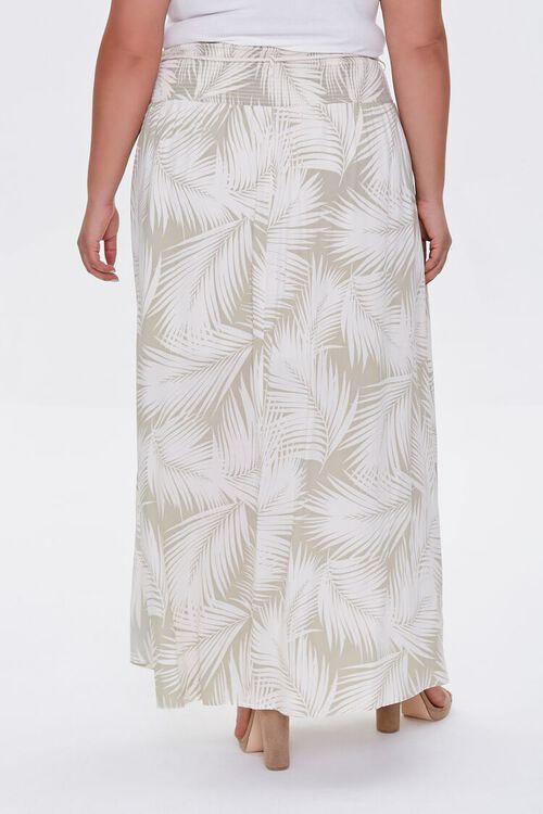 Plus Size Tropical Leaf M-Slit Skirt, image 3