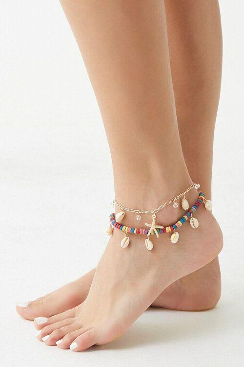 CREAM/MULTI Seashell Charm Anklet Set, image 2
