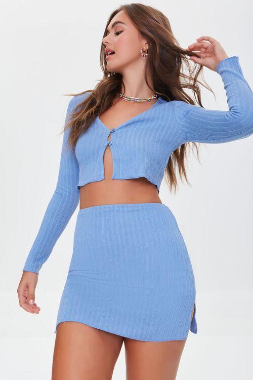 Ribbed Crop Top & Mini Skirt Set, image 1