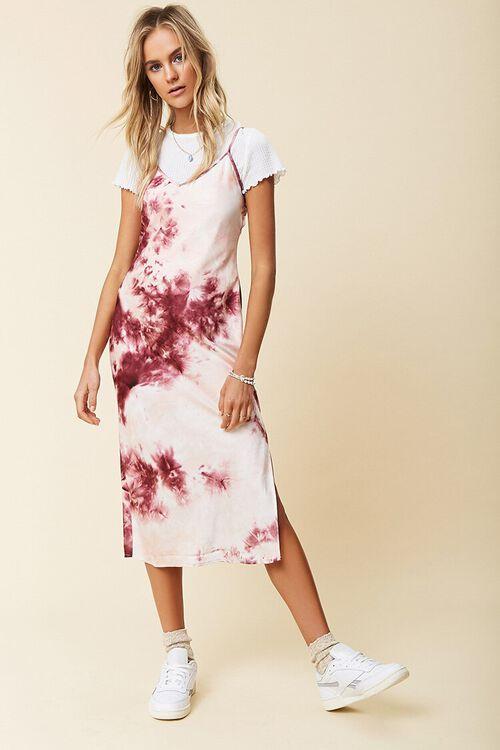 WINE/MULTI Tie-Dye Cami Dress, image 1