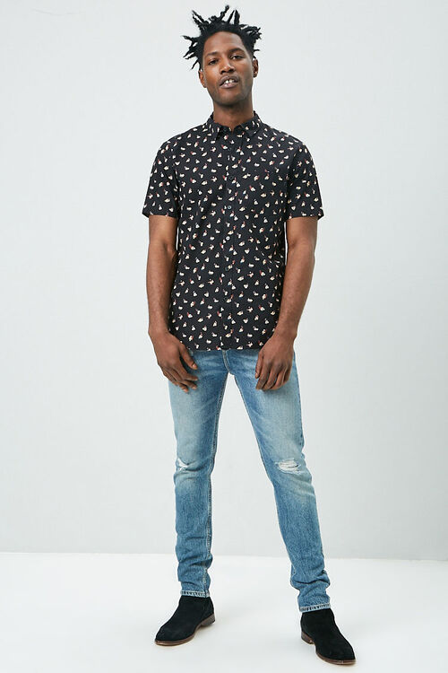 Fitted Ditsy Floral Print Shirt, image 4