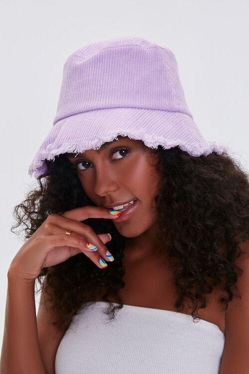 VIOLET Frayed Corduroy Bucket Hat, image 1