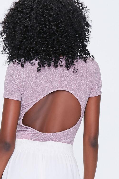 LAVENDER Glitter Knit Cutout Bodysuit, image 3
