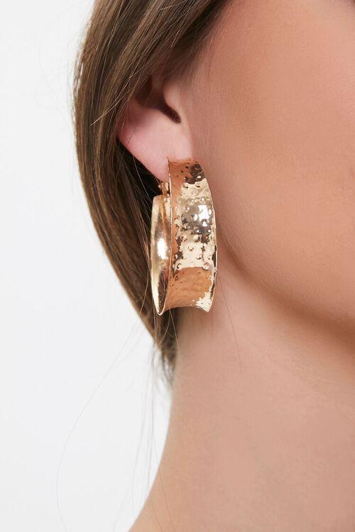 GOLD Hammered Hoop Earrings, image 1