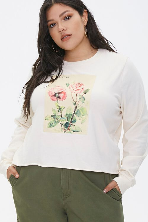 Plus Size Floral Long-Sleeve Tee, image 1