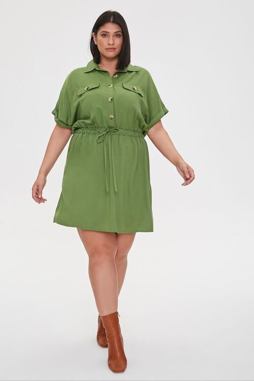 Plus Size Tie-Waist Shirt Dress, image 4