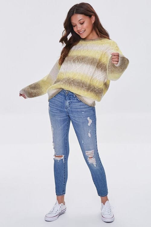 GREEN/MULTI Colorblock Cable Knit Sweater, image 4