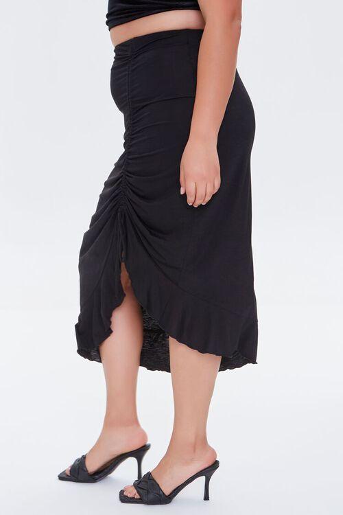Plus Size Ruched Drawstring Midi Skirt, image 3