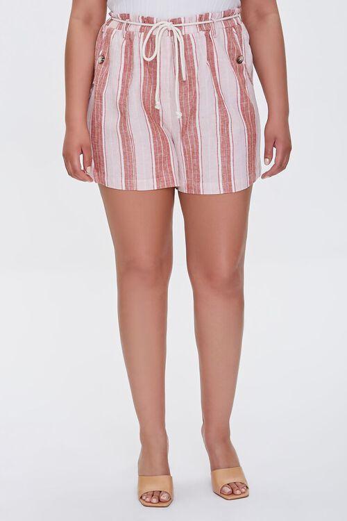 Plus Size Striped Linen-Blend Shorts, image 2