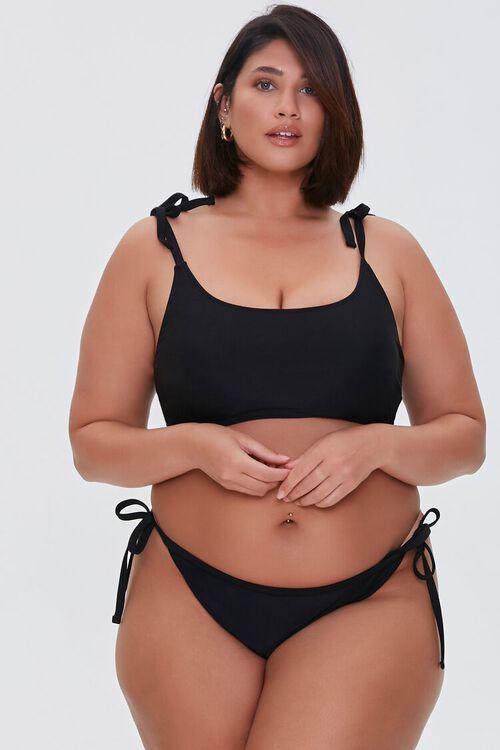 BLACK Plus Size String Bikini Bottoms, image 1