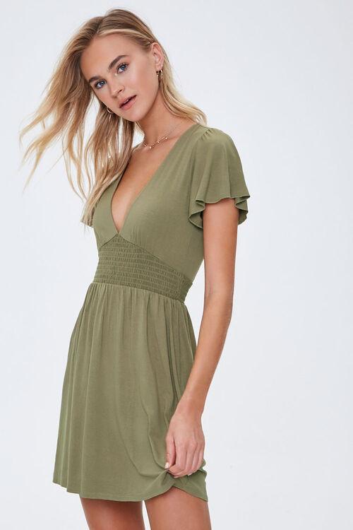 Smocked-Waist Skater Dress, image 1