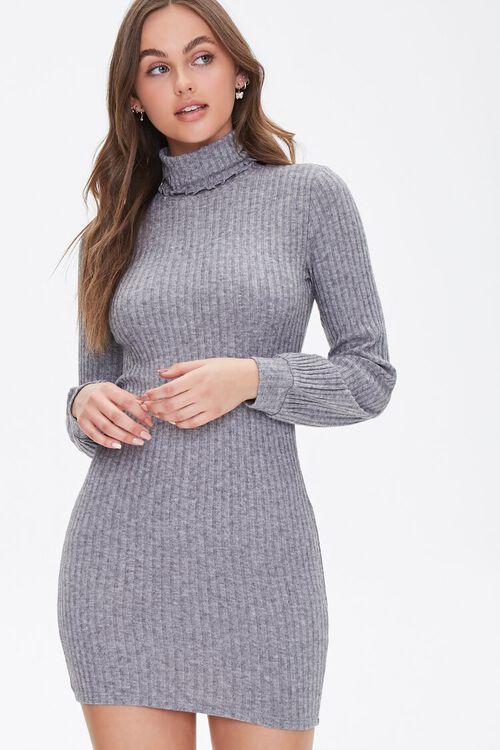 HEATHER GREY Ribbed Knit Mini Dress, image 1