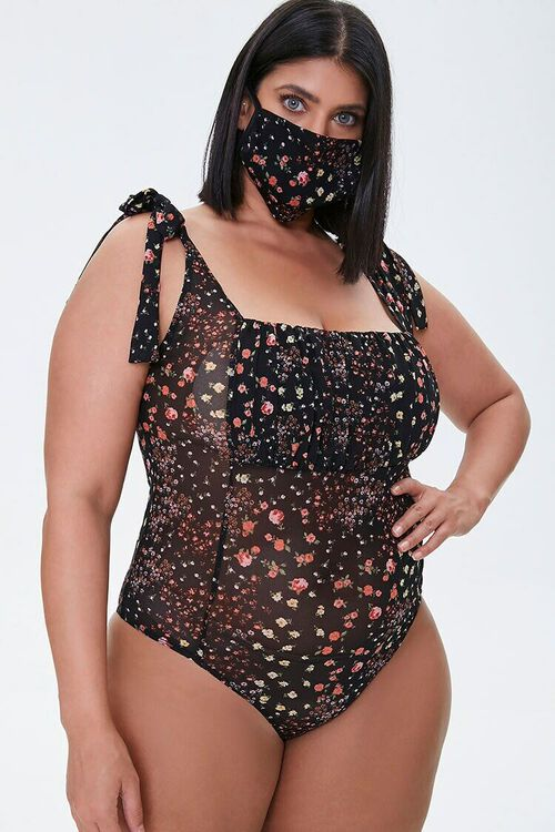 BLACK/MULTI Plus Size Bodysuit & Face Mask Set, image 6