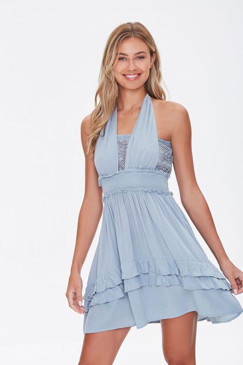 Halter Ruffle-Trim Mini Dress, image 1