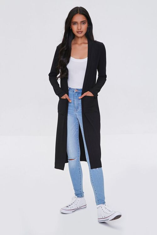 BLACK Longline Cardigan Sweater, image 4