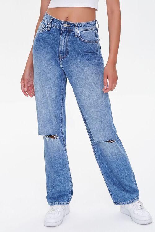 MEDIUM DENIM Distressed 90s-Fit Jeans, image 2