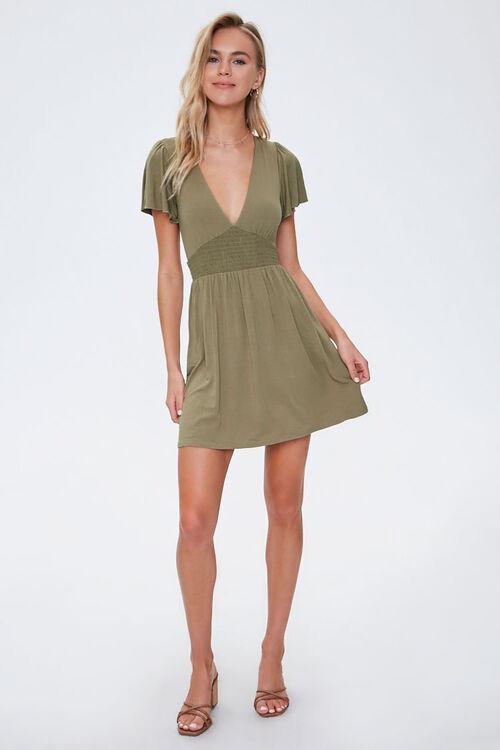 Smocked-Waist Skater Dress, image 4