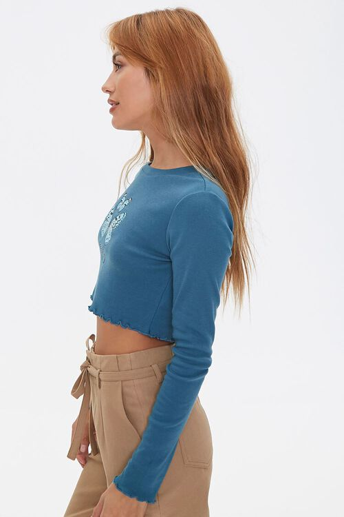 Lettuce-Edge Butterfly Crop Top, image 2