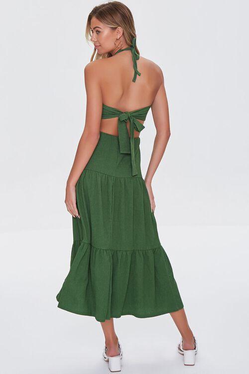 GREEN Crop Top & Tiered Midi Skirt Set, image 3