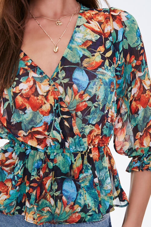 Floral Flounce-Hem Surplice Top, image 5