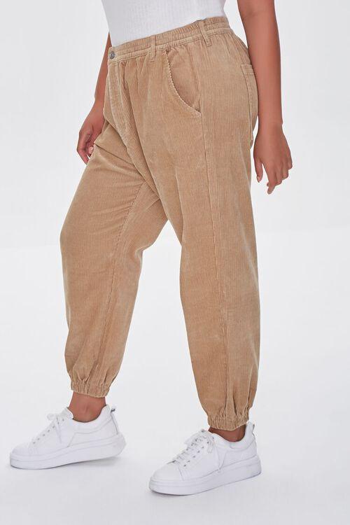 KHAKI Plus Size Corduroy Pocket Joggers, image 3