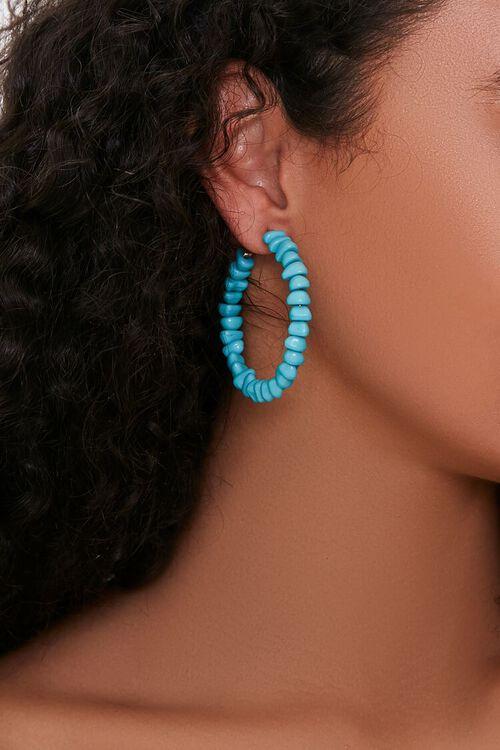 Faux Turquoise Hoop Earrings, image 1