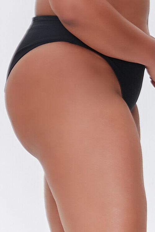 BLACK Plus Size Cheeky Bikini Bottoms, image 3